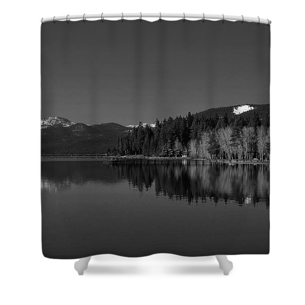 Black And White Lake Tahoe Reflection Shower Curtain