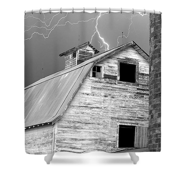 Black And White Old Barn Lightning Strikes Shower Curtain