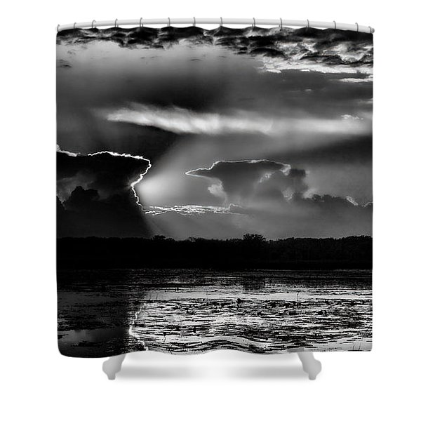 Black And White Sunset Over The Mead Wildlife Area Shower Curtain