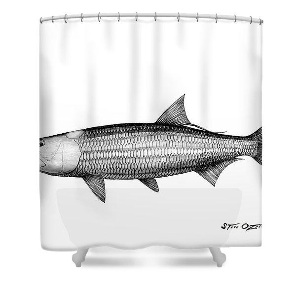 Black And White Tarpon Shower Curtain