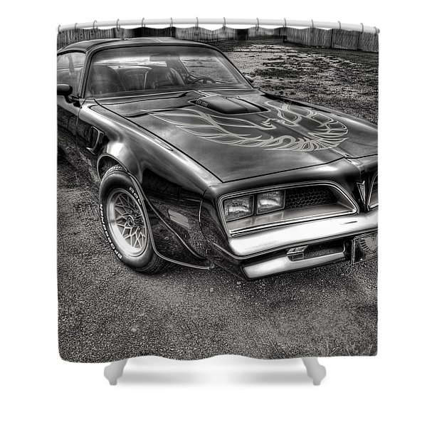 Black And White Trans Am Shower Curtain