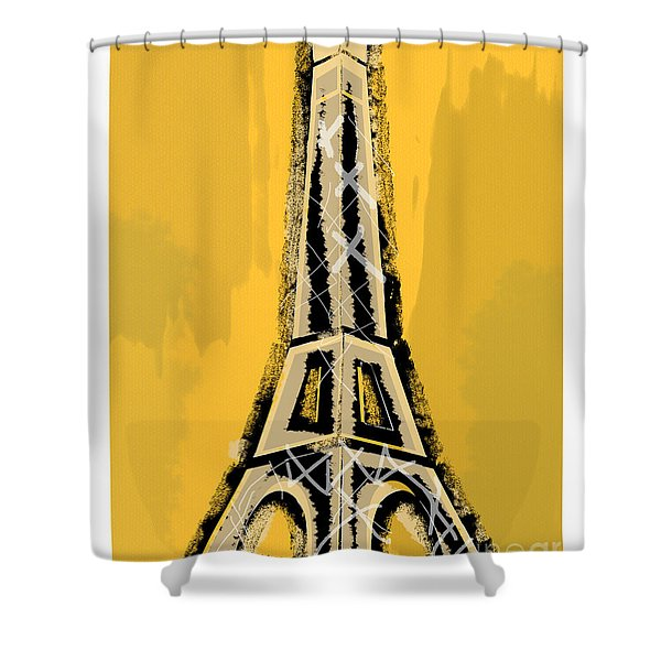 Black And Yellow Eiffel Tower Paris Shower Curtain