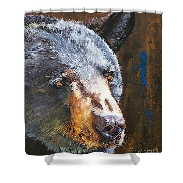 Black Bear The Messenger Shower Curtain