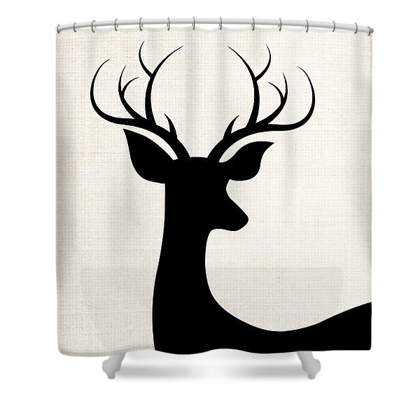 Black Deer Silhouette Shower Curtain