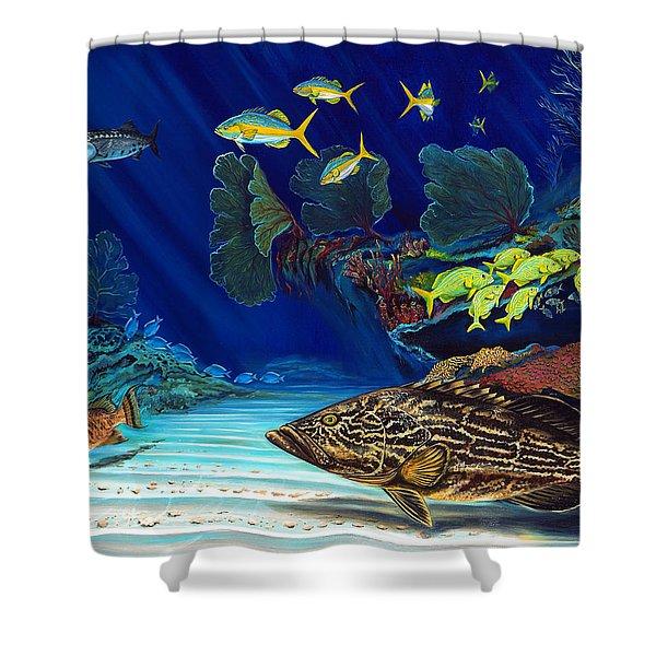 Black Grouper Reef Shower Curtain