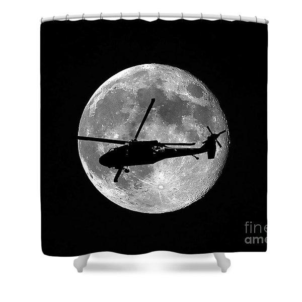 Black Hawk Moon Shower Curtain