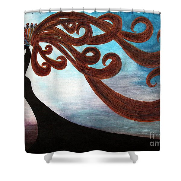 Black Magic Woman Shower Curtain