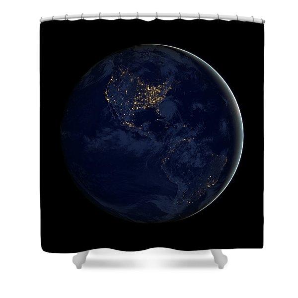 Black Marble - City Lights Americas Shower Curtain