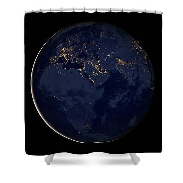 Black Marble - Europe - Africa - Midddle East City Lights Shower Curtain