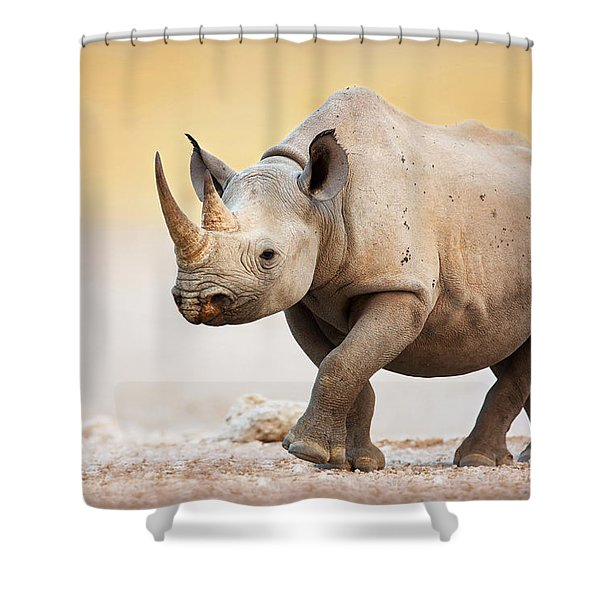 Black Rhinoceros Shower Curtain