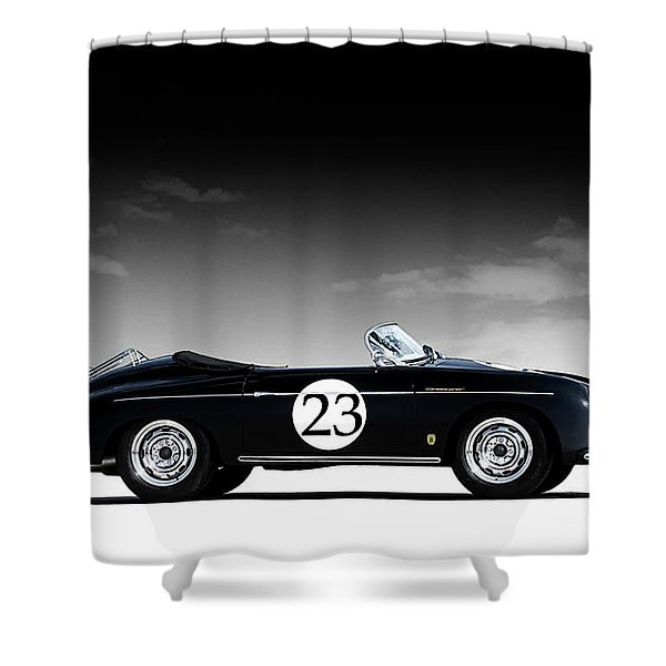 Black Speedster Shower Curtain