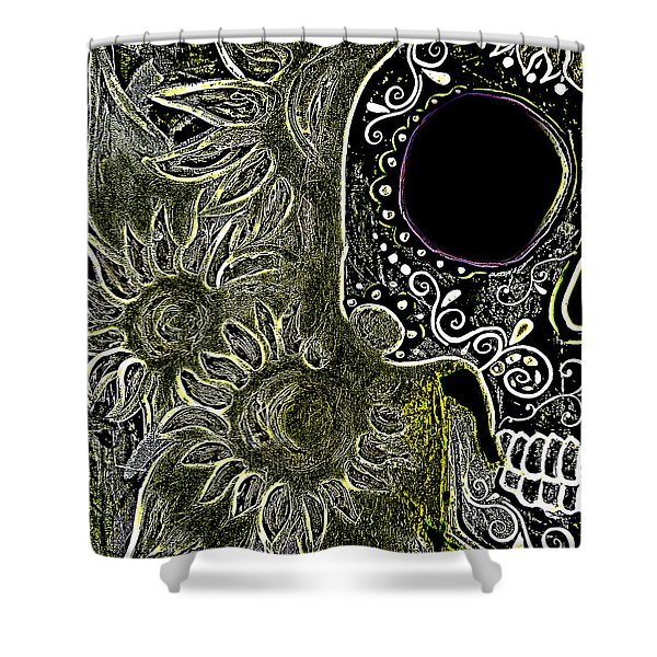 Black Sunflower Skull Shower Curtain