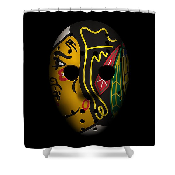 Blackhawks Goalie Mask Shower Curtain