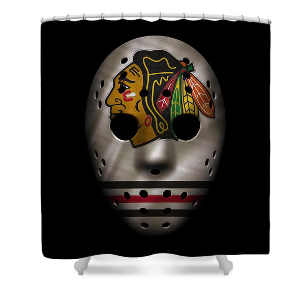 Blackhawks Jersey Mask Shower Curtain