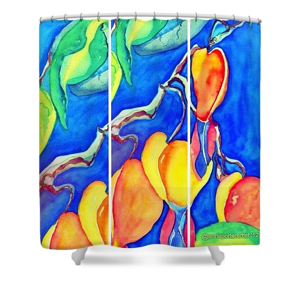 Bleeding Hearts Tryptic - Digital Artwork From Original Watercolor Painting Shower Curtain