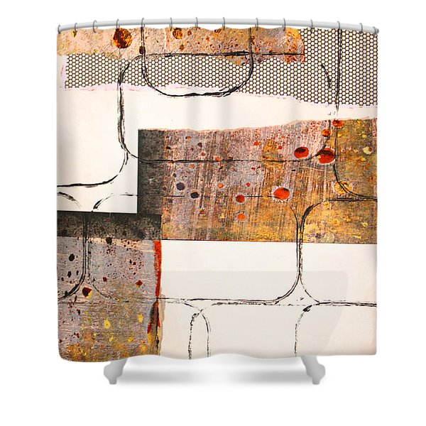 Blocks Abstract Mixed Media Collage Shower Curtain