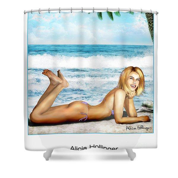 Blonde On Beach Shower Curtain