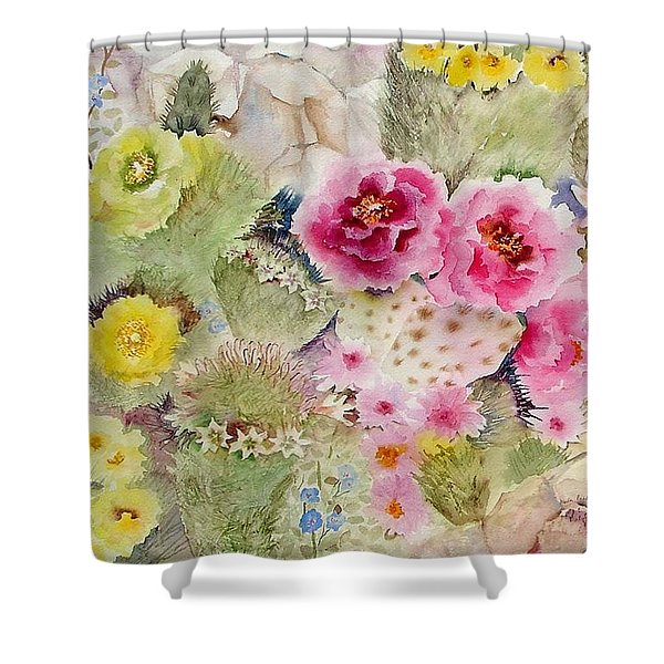 Blooming Cacti Shower Curtain