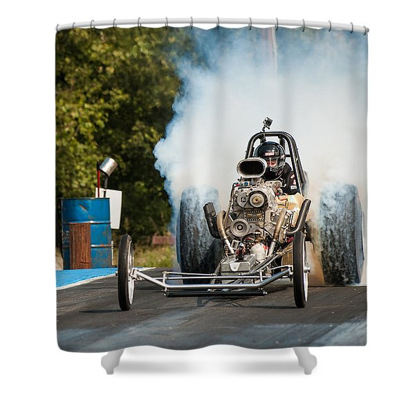 Blown Front Engine Dragster Burnout Shower Curtain
