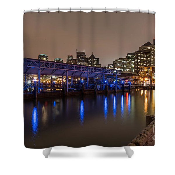Blue And Gold Night Shower Curtain
