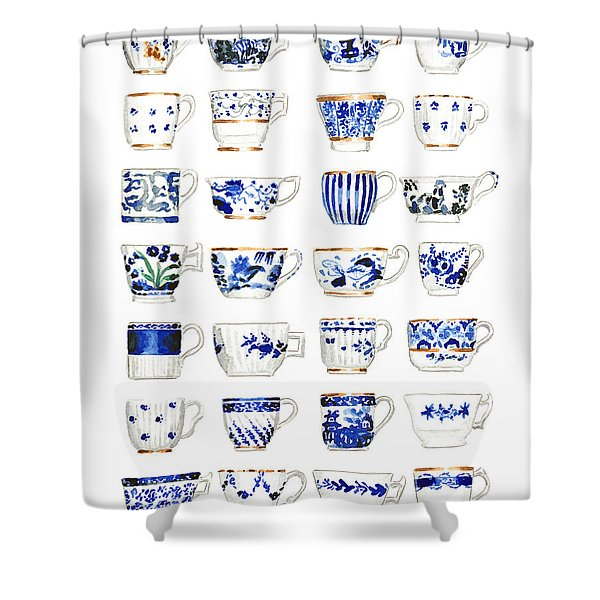 Blue And White Teacups Collage Shower Curtain