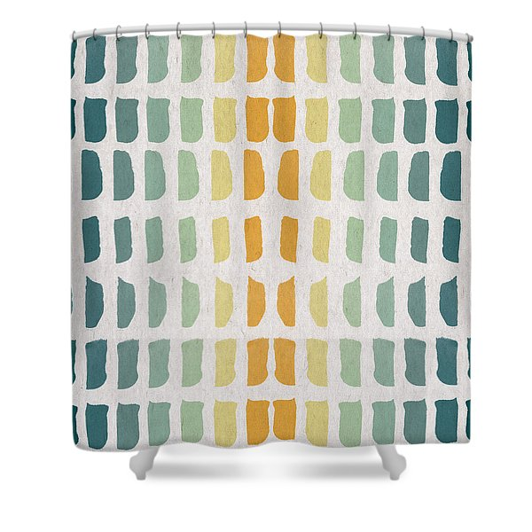 Blue And Yellow Pattern Shower Curtain