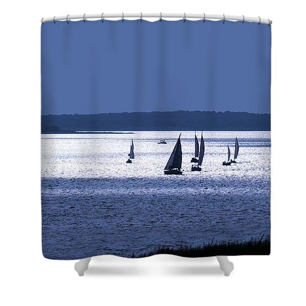 Blue Armada II Shower Curtain