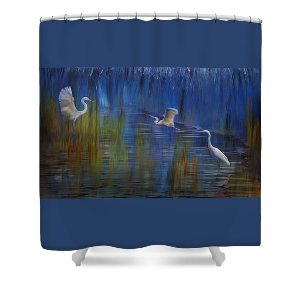 Shower Curtain featuring the photograph Blue Bayou II by Melinda Hughes-Berland