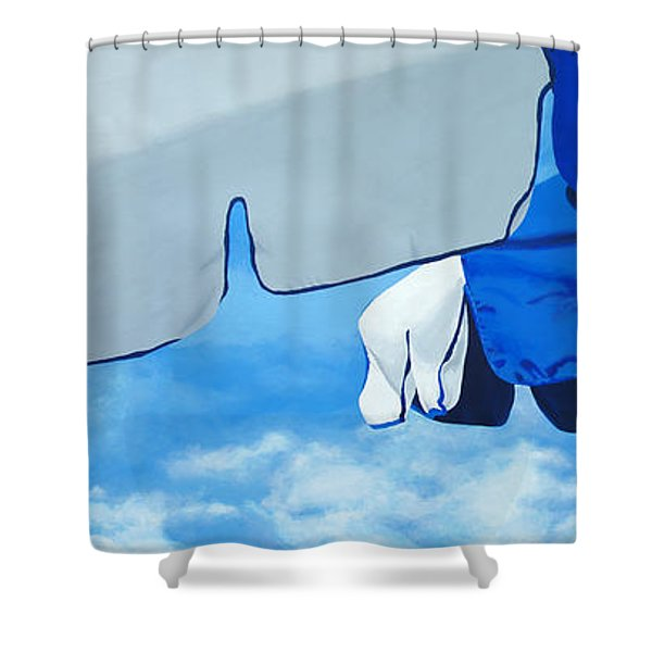 Blue Beach Umbrellas 2 Shower Curtain