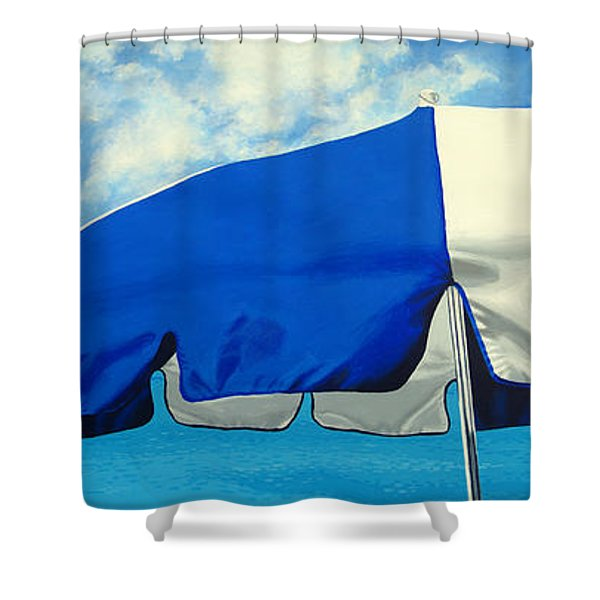 Blue Beach Umbrellas 1 Shower Curtain