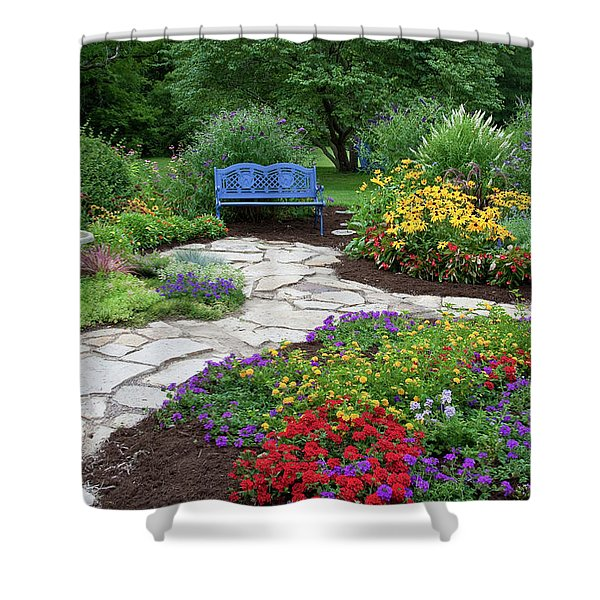 Blue Bench, Birdbath And Stone Path Shower Curtain