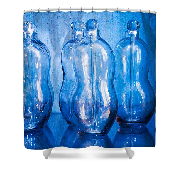 Blue Bottles Shower Curtain