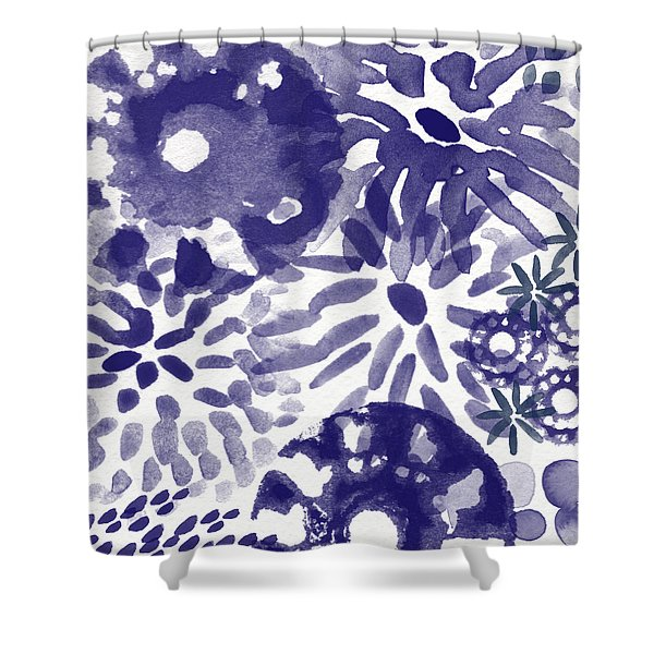 Blue Bouquet- Contemporary Abstract Floral Art Shower Curtain