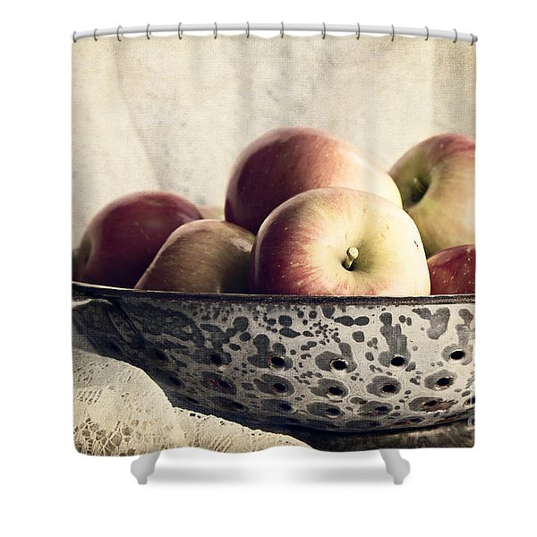 Blue Bowl Of Apples Shower Curtain