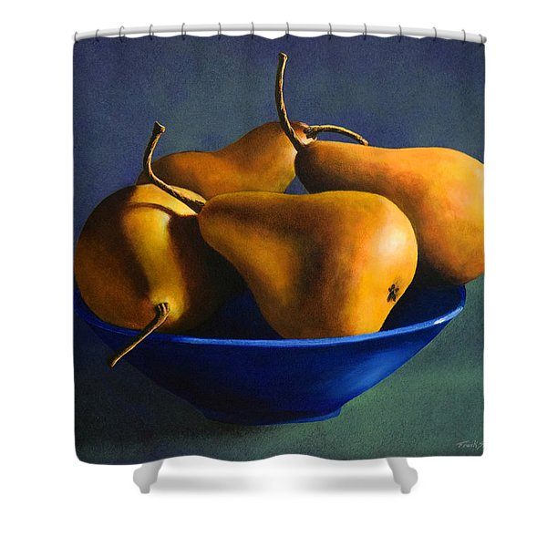 Blue Bowl With Four Pears Shower Curtain