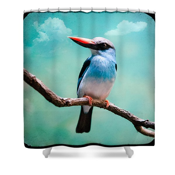 Blue Breasted Kingfisher Shower Curtain