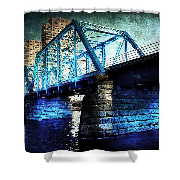 Blue Bridge Shower Curtain