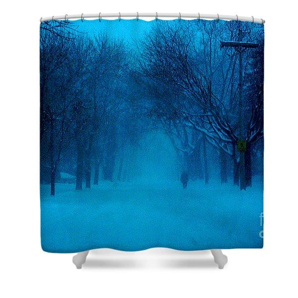 Blue Chicago Blizzard  Shower Curtain