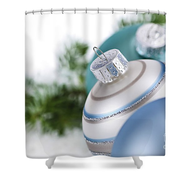 Blue Christmas Ornaments Shower Curtain