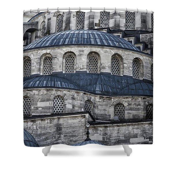 Blue Dawn Blue Mosque Shower Curtain
