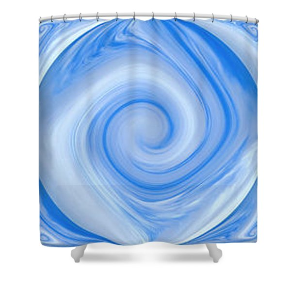 Blue Design Shower Curtain