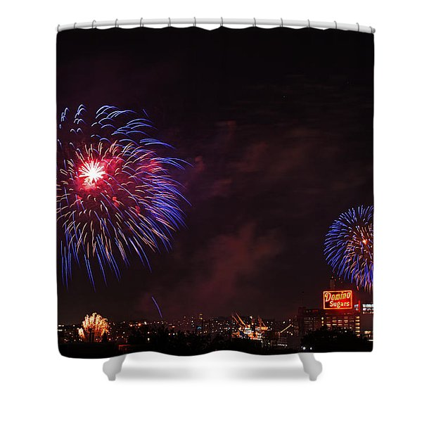 Blue Fireworks Over Domino Sugar Shower Curtain