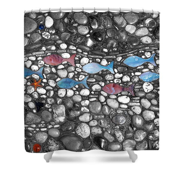 Blue Fish Pink Fish Shower Curtain