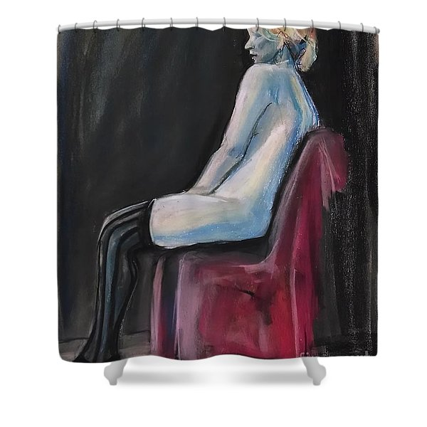 Shower Curtain featuring the drawing Blue by Gabrielle Wilson-Sealy