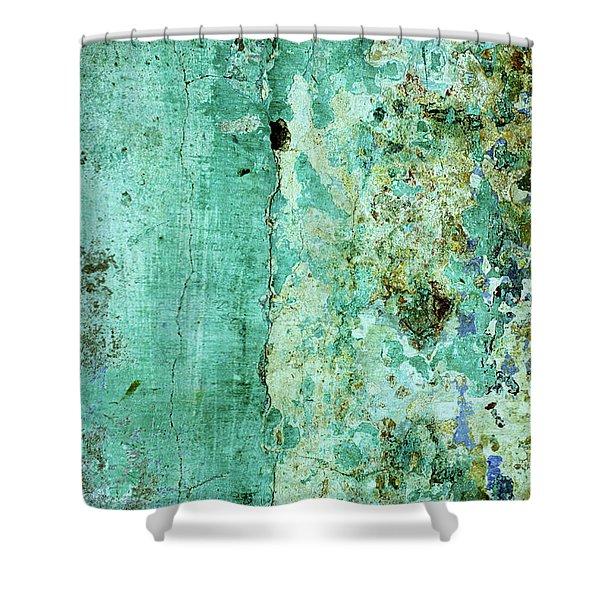 Blue Green Wall Shower Curtain