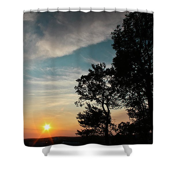 Blue Heaven Sunset Shower Curtain