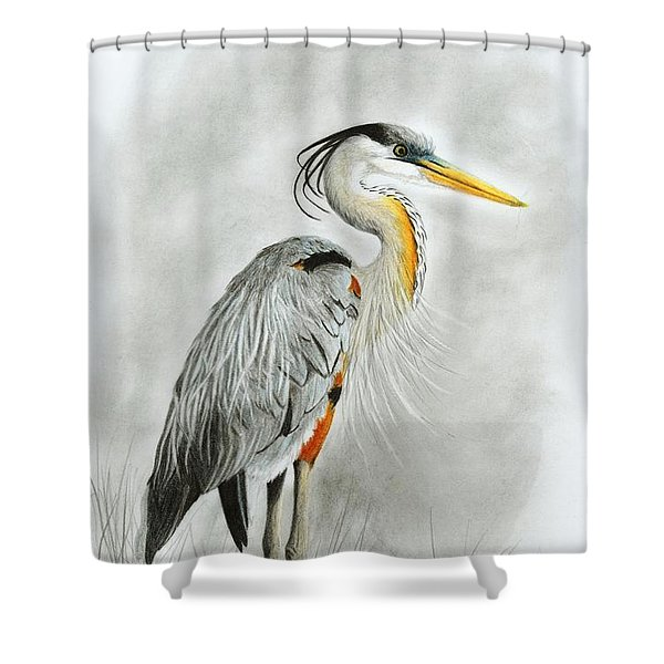 Blue Heron 3 Shower Curtain