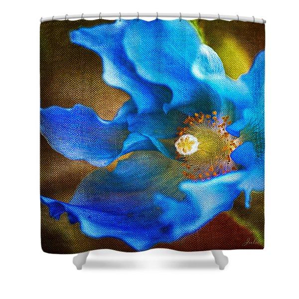 Blue Himalayan Poppy Shower Curtain