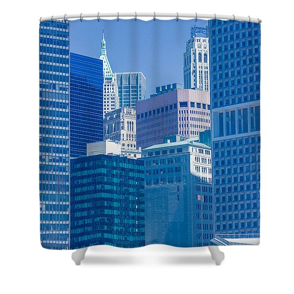 Blue Manhattan Shower Curtain