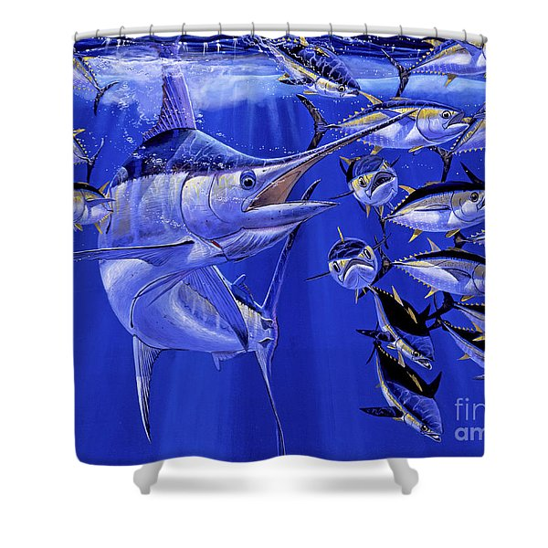 Blue Marlin Round Up Off0031 Shower Curtain